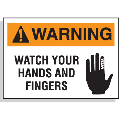 Hazard Warning Labels - Warning Watch Your Hands And Fingers