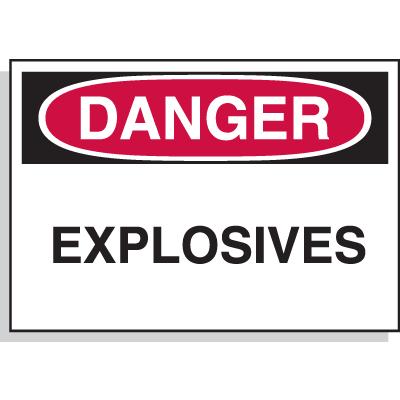 Danger Explosives - Hazard Warning Label