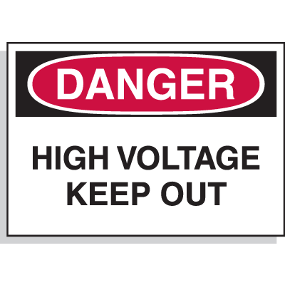 Hazard Warning Labels - Danger High Voltage Keep Out
