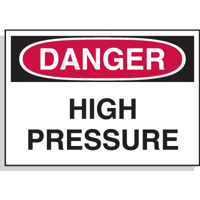 Hazard Warning Labels - Danger High Pressure