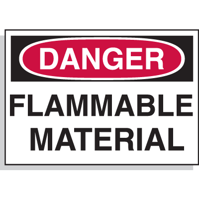 Hazard Warning Labels - Danger Flammable Material