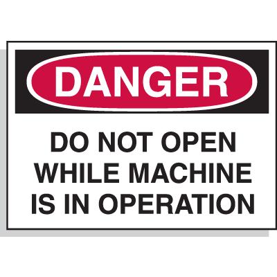 Hazard Warning Labels - Danger Do Not Open