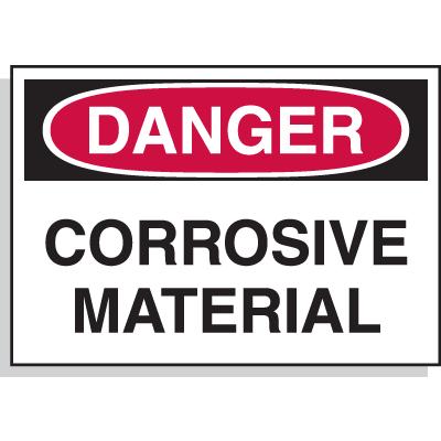 Hazard Warning Labels - Danger Corrosive Material
