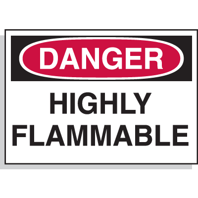 Hazard Warning Labels - Danger Highly Flammable