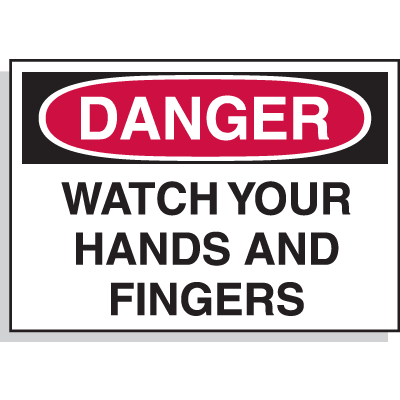 Hazard Warning Labels - Danger Watch Your Hands And Fingers
