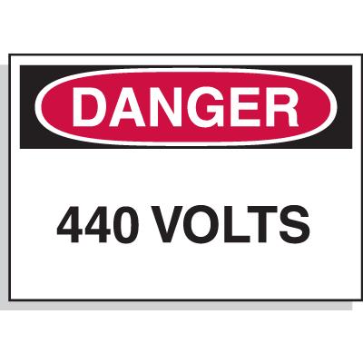 Hazard Warning Labels - Danger 440 Volts