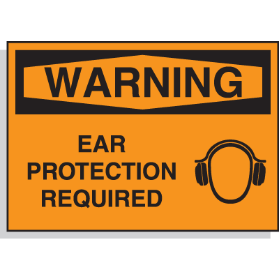 Hazard Warning Labels - Warning Ear Protection Required (with Graphic)