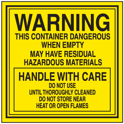 Dangerous When Empty Hazardous Waste Container Labels