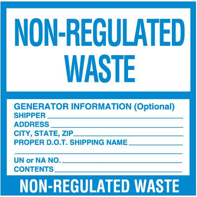 Non-Regulated Hazardous Waste Labels
