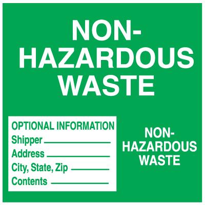 Hazwaste Container Labels - Non-Hazardous Waste