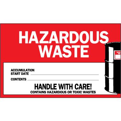 Hazardous Waste Identification Labels - Roll of 250