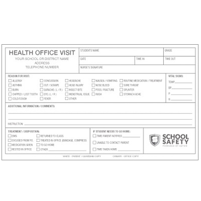 Health Office Visit - Semi-Custom School Forms and Passes