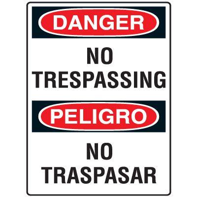 Heavy Duty Bilingual Security Signs - Danger/Peligro No Trespassing