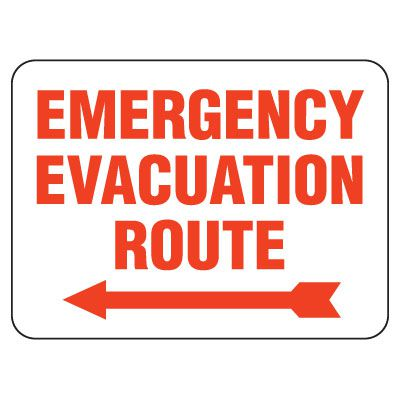 Heavy-Duty Emergency Rescue & Evacuation Signs - Emergency Evacuation Route (with left arrow)