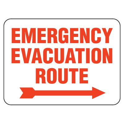 Heavy-Duty Emergency Rescue & Evacuation Signs - Emergency Evacuation Route (with right arrow)