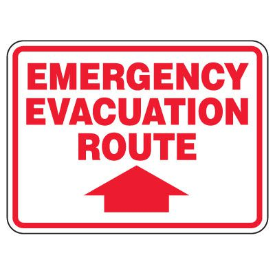 Heavy-Duty Emergency Rescue & Evacuation Signs - Emergency Evacuation (with arrow up)
