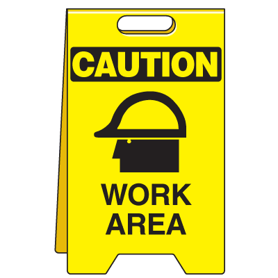 Heavy Duty Floor Stand Signs - Caution Work Area