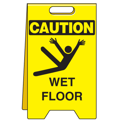 Heavy Duty Floor Stand Signs- Wet Floor (With Graphic)