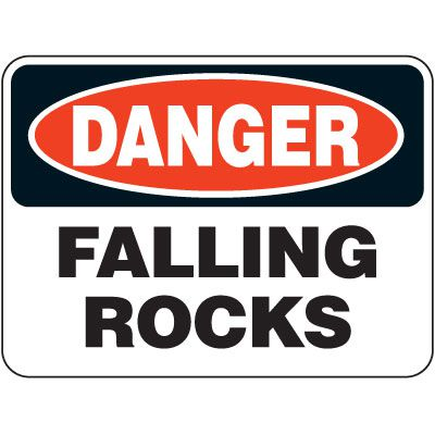 Heavy-Duty Hazardous Work Zone Signs - Danger Falling Rocks