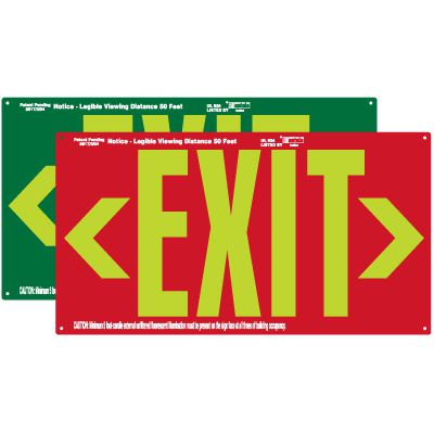 Photoluminescent Exit Sign With Double Arrows