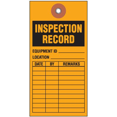 Inspection Record Tyvek Tag