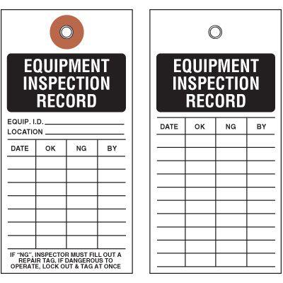 Equipment Inspection Tyvek Tag