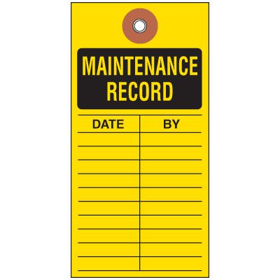 Maintenance Record Tyvek Tag