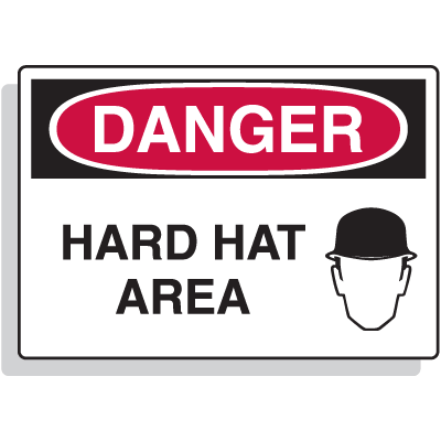 Premium Fiberglass OSHA Sign - Danger - Hard Hat Area