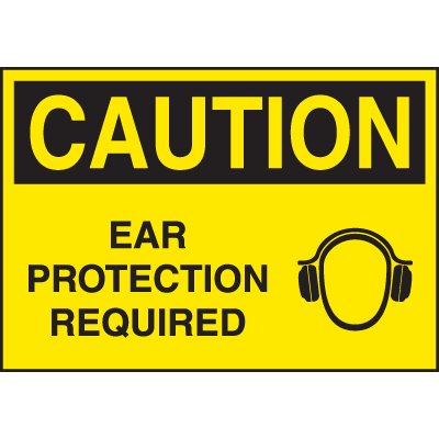 High Performance SetonUltraTuff™ Polyester Labels - Caution Ear Protection Required