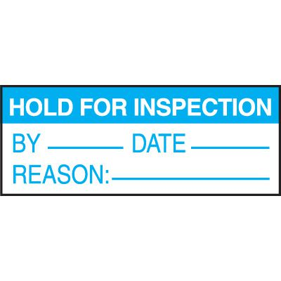 Hold For Inspection Write On Status Labels