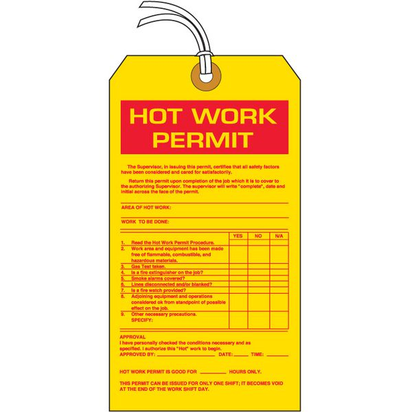 Hot Work Permit Hazard Information Tags