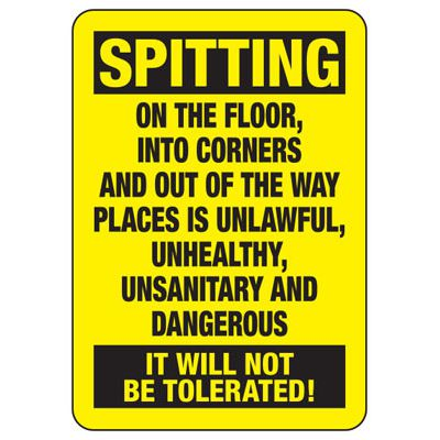 No Spitting It Will Not Be Tolerated - Industrial Housekeeping Sign