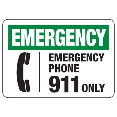 In Case of Emergency Signs - Emergency Phone