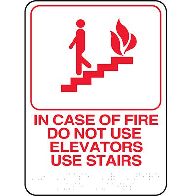 In Case of Fire Do Not Use Elevators ADA Sign