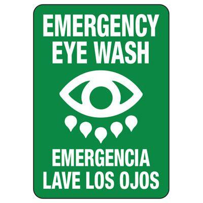 Bilingual Emergency Eyewash Safety Signs