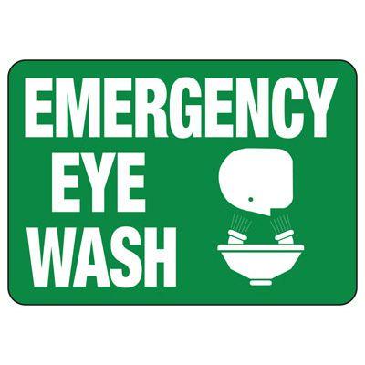 Emergency Eye Wash W/ Eye Wash Graphic - First Aid Sign