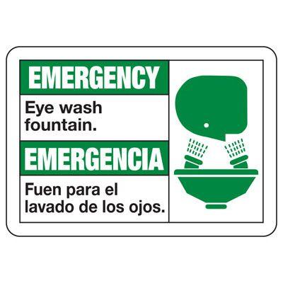 Bilingual Emergency Eye Wash Fountain - First Aid Sign