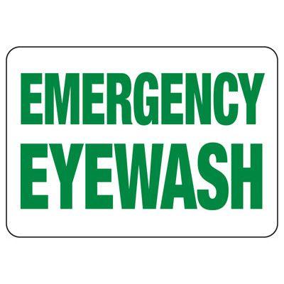 Emergency Eyewash (Glow-In-The-Dark) - Industrial First Aid Signs