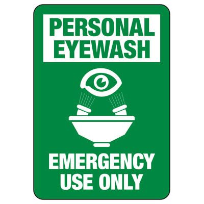 Eyewash Fountain Emergency Use - Industrial First Aid Sign