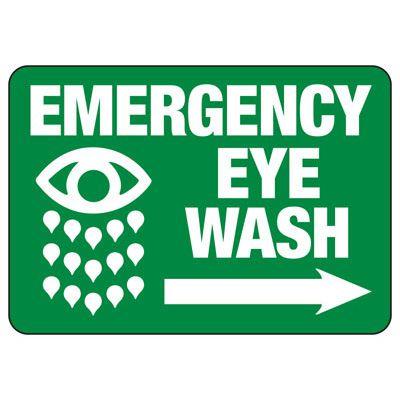 Emergency Eyewash (Right Arrow) - Industrial First Aid Sign