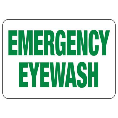 Emergency Eyewash Report Injury - Industrial First Aid Sign