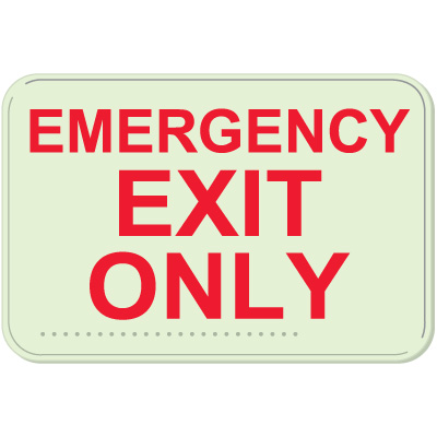 Emergency Exit Only Sign - Braille Glow-In-The-Dark Signs
