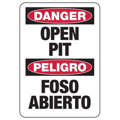 Bilingual Danger Open Pit - Industrial Construction Sign