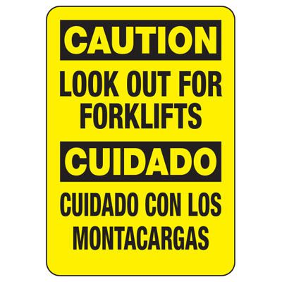 Bilingual Forklift Safety Signs - Caution Look Out For Forklifts