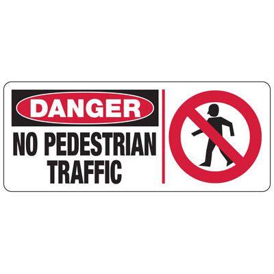 Danger No Pedestrian Traffic (Graphic) - Forklift Signs