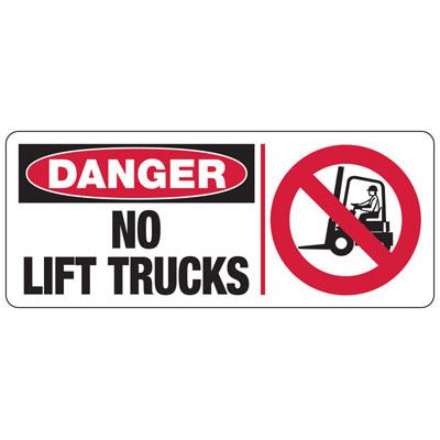Danger No Lift Trucks (Graphic) - Forklift Signs