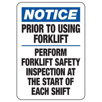 Prior To Using Forklift Perform Forklift Inspection - Forklift Signs