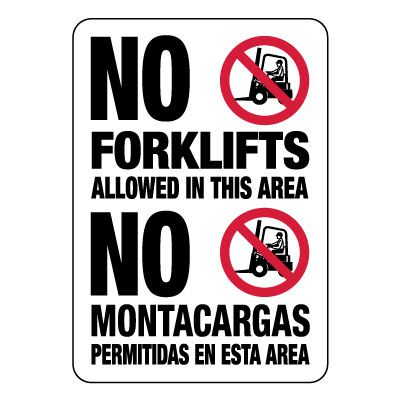 No Forklifts Allowed In This Area (Graphic) - Bilingual Forklift Signs