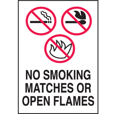 Graphic No Smoking Signs - No Smoking Matches Or Open Flames