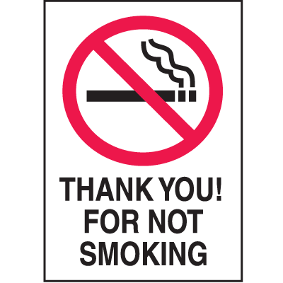 Graphic No Smoking Signs - Thank You! For Not Smoking